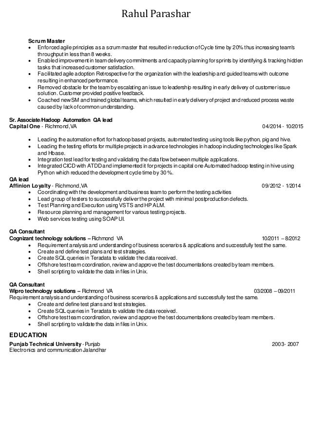 sample scrum master resume resume examples it jobs - Scrum Master Resume