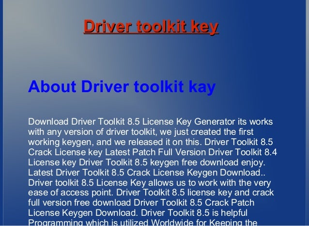 driver toolkit 8.5 crack serial key