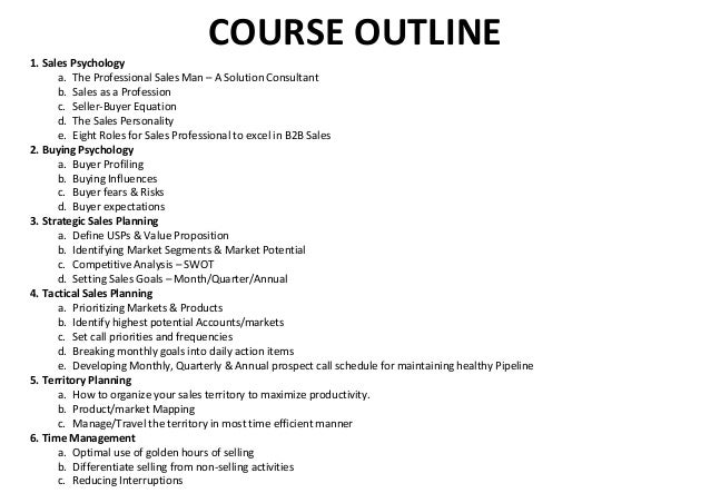 course outline 1 sales psychology a the professional sales man a solution consultant