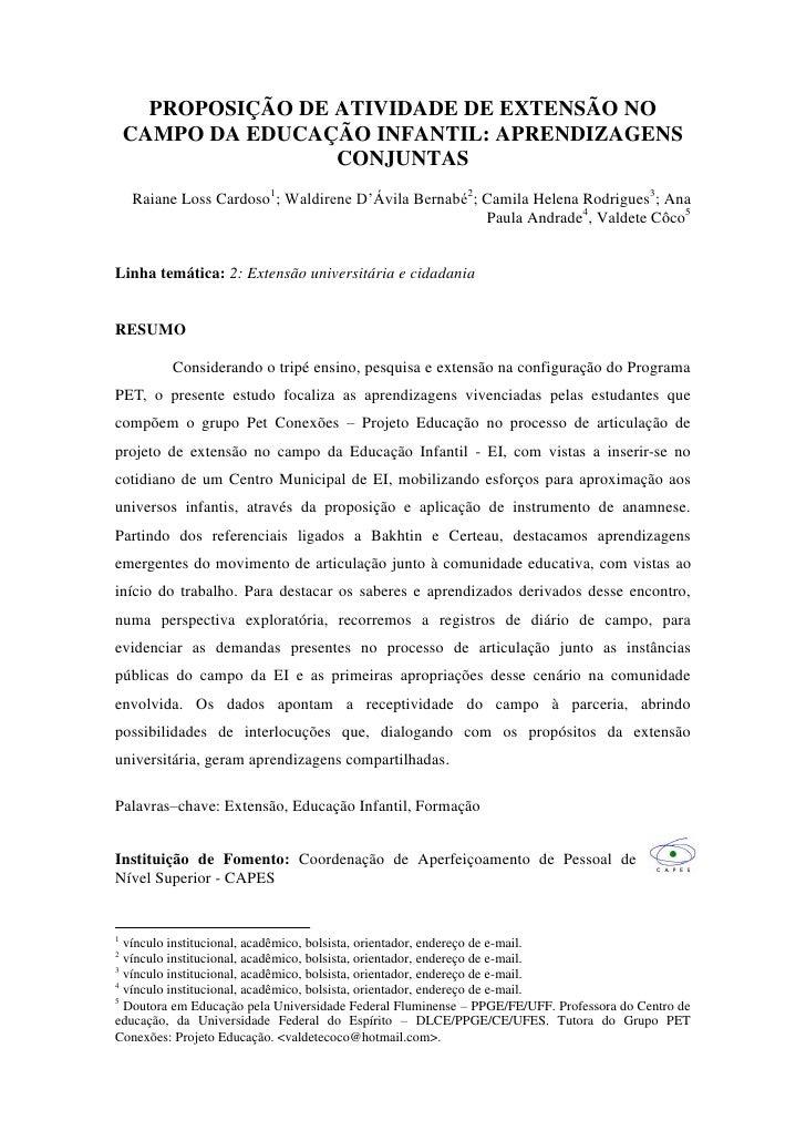 PROPOSIÇÃO DE ATIVIDADE DE EXTENSÃO NO    CAMPO DA EDUCAÇÃO INFANTIL: APRENDIZAGENS                    CONJUNTAS    Raiane...