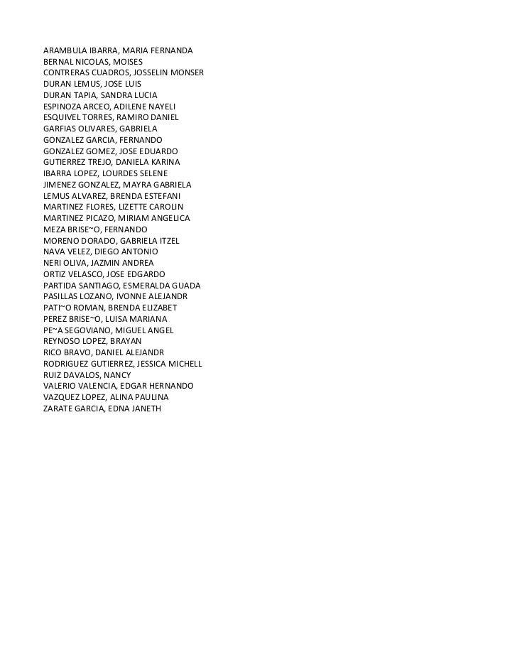 ARAMBULA IBARRA, MARIA FERNANDABERNAL NICOLAS, MOISESCONTRERAS CUADROS, JOSSELIN MONSERDURAN LEMUS, JOSE LUISDURAN TAPIA, ...
