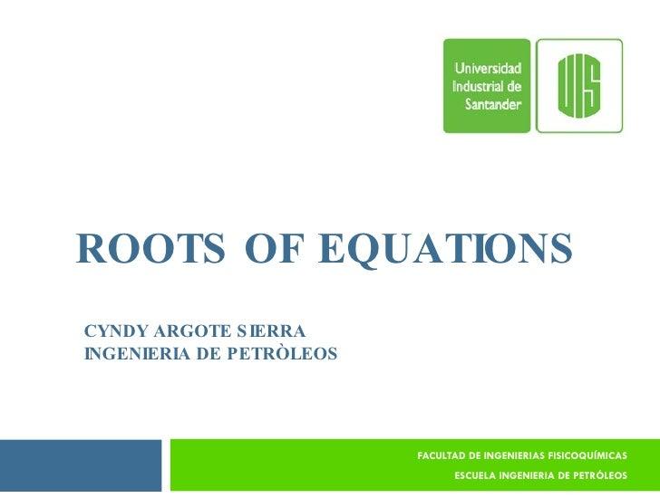 ROOTS OF EQUATIONS FACULTAD DE INGENIERIAS FISICOQUÍMICAS ESCUELA INGENIERIA DE PETRÓLEOS CYNDY ARGOTE SIERRA INGENIERIA D...