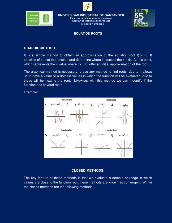 EQUATION ROOTS<br />GRAPHIC METHOD<br />It is a simple method to obtain an approximation to the equation root f(x) =0. It ...