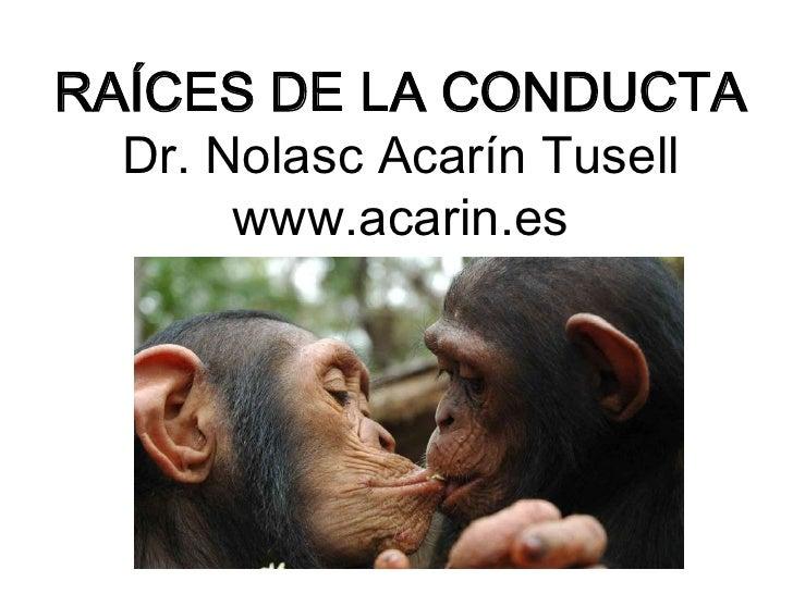 RAÍCES DE LA CONDUCTA   Dr. Nolasc Acarín Tusell        www.acarin.es