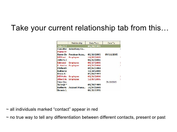 """Take your current relationship tab from this… ~ all individuals marked """"contact"""" appear in red ~ no true way to tell any d..."""