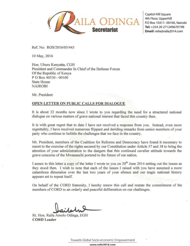 Raila's call for dialogue with uhuru