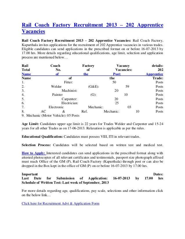 Rail Coach Factory Recruitment 2013 – 202 ApprenticeVacanciesRail Coach Factory Recruitment 2013 – 202 Apprentice Vacancie...