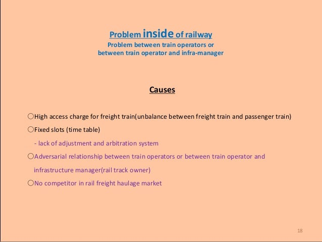 18 Problem inside of railway Problem between train operators or between train operator and infra-manager Causes ○High acce...
