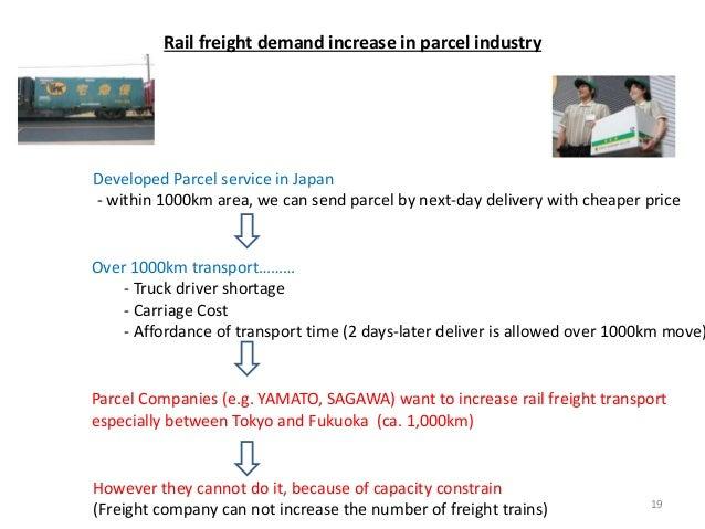 Parcel Companies (e.g. YAMATO, SAGAWA) want to increase rail freight transport especially between Tokyo and Fukuoka (ca. 1...