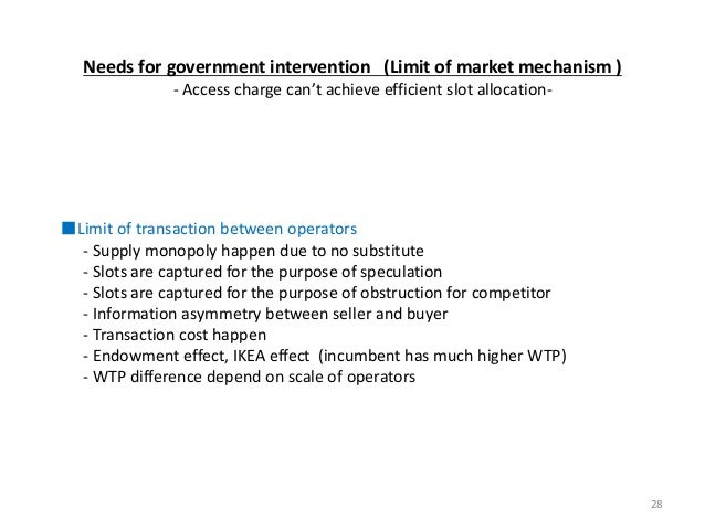 28 Needs for government intervention (Limit of market mechanism ) - Access charge can't achieve efficient slot allocation-...