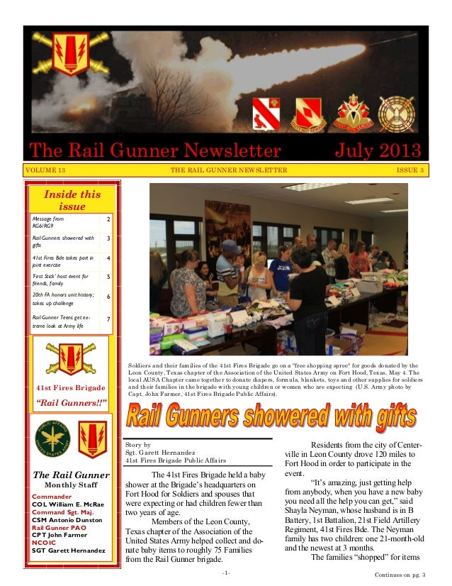 Inside this issue Message from RG6/RG9 2 Rail Gunners showered with gifts 3 41st Fires Bde takes part in joint exercise 4 ...
