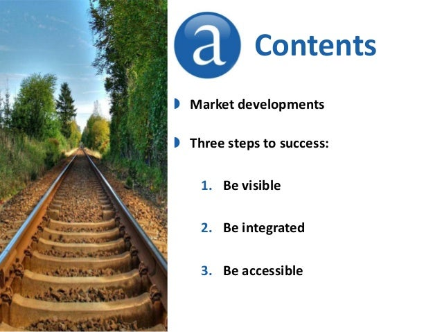Contents  Market developments  Three steps to success: 1. Be visible  2. Be integrated 3. Be accessible