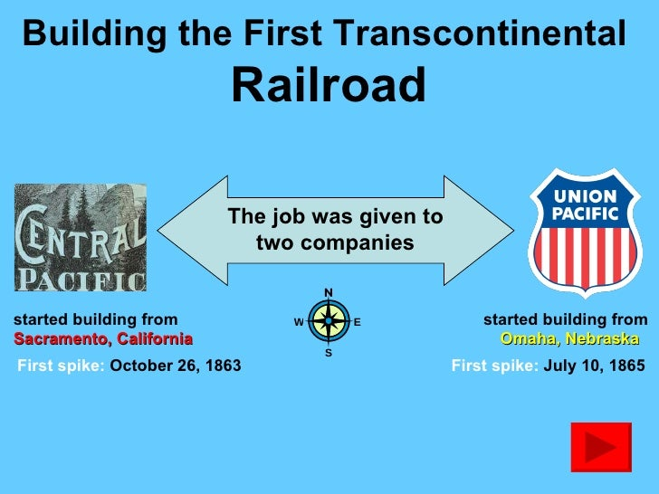 the first transcontinental railroad The first american railroad to carry passengers and freight was the baltimore and ohio, chartered in maryland in 1827 at midcentury, the federal government began granting land to certain railroads in exchange for reduced carriage charges for government use.