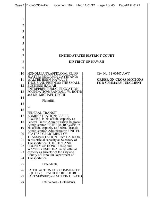 Case 1:11-cv-00307-AWT Document 182         Filed 11/01/12 Page 1 of 45   PageID #: 8121    1    2    3    4    5    6    ...
