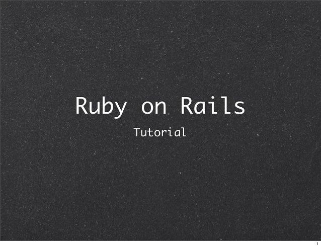 Ruby on Rails Tutorial 1