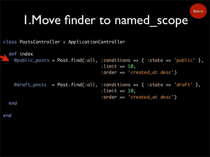 Before           1.Move finder to named_scope class PostsController < ApplicationController    def index     @public_posts ...