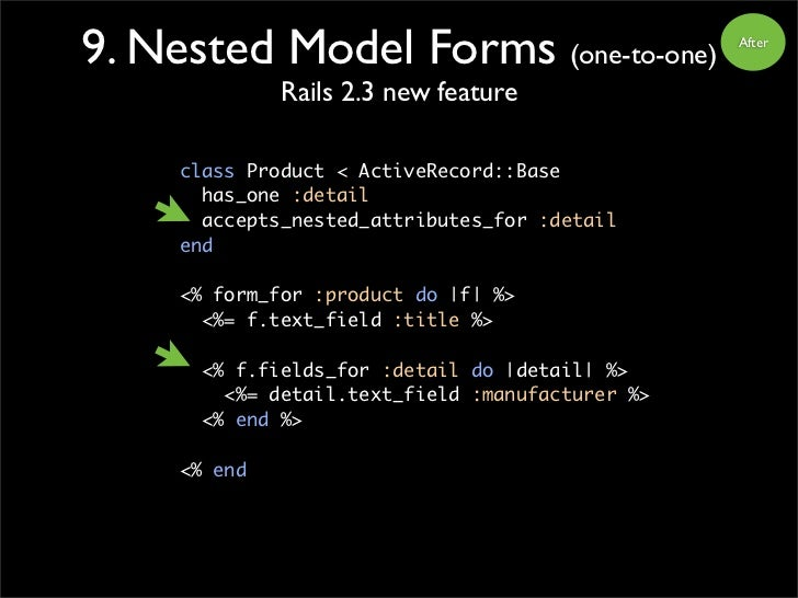 9. Nested Model Forms (one-to-one)                After                 Rails 2.3 new feature       class Product < Active...