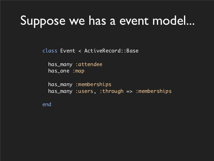 Suppose we has a event model...     class Event < ActiveRecord::Base       has_many :attendee      has_one :map       has_...