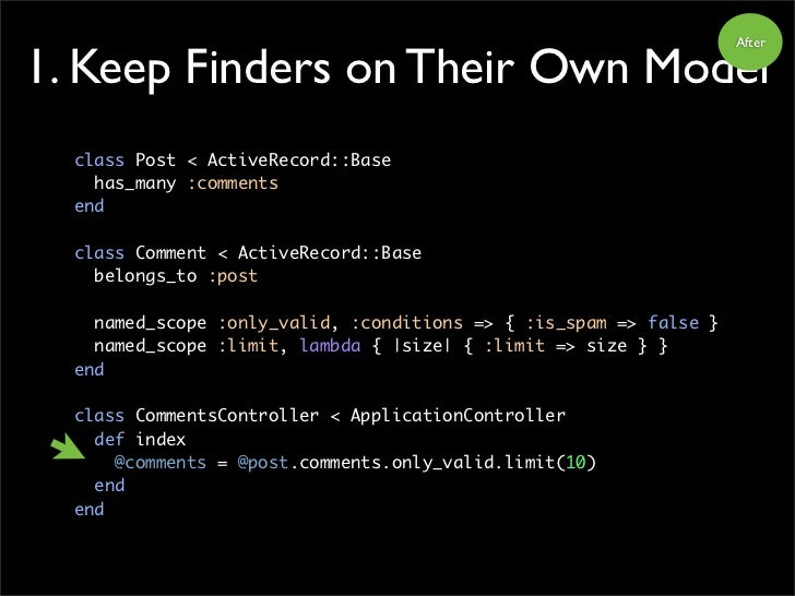 After  1. Keep Finders on Their Own Model   class Post < ActiveRecord::Base     has_many :comments   end    class Comment ...