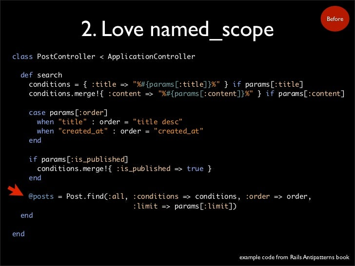 Before                    2. Love named_scope class PostController < ApplicationController    def search     conditions = ...