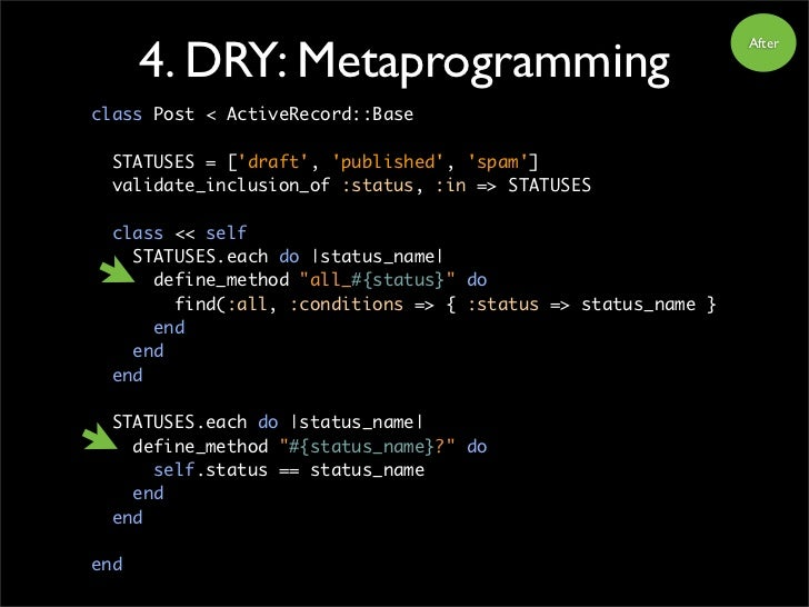 4. DRY: Metaprogramming                                                                After     class Post < ActiveRecord...