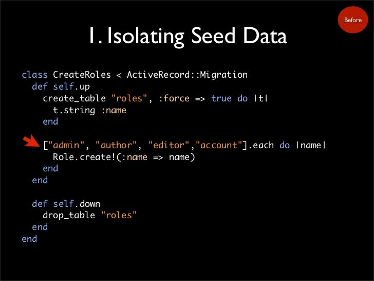 """Before               1. Isolating Seed Data class CreateRoles < ActiveRecord::Migration   def self.up     create_table """"ro..."""