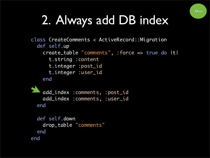 """After      2. Always add DB index class CreateComments < ActiveRecord::Migration   def self.up     create_table """"comments""""..."""