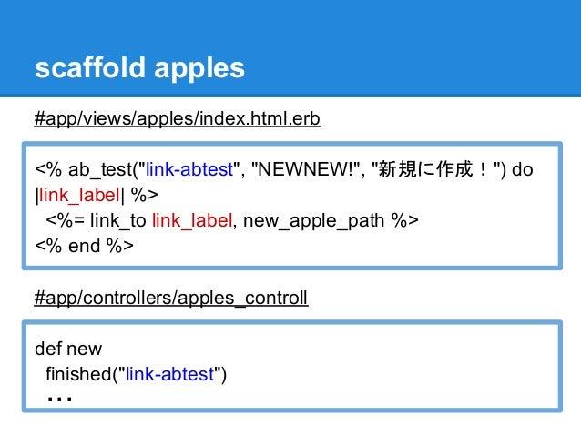 "scaffold apples#app/views/apples/index.html.erb<% ab_test(""link-abtest"", ""NEWNEW!"", ""新規に作成!"") do|link_label| %>  <%= link_..."