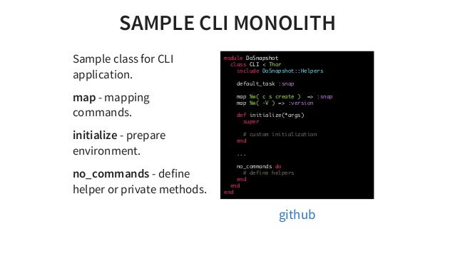 SAMPLECLIMONOLITH SampleclassforCLI application. map-mapping commands. initialize-prepare environment. no_command...