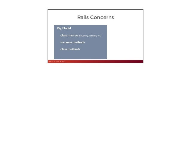 Rails Concerns 17 Big Model class macros (has_many, validates, etc.) instance methods class methods