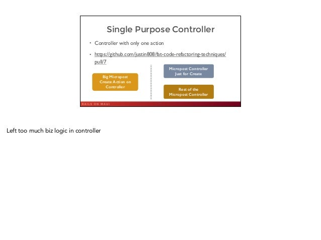Single Purpose Controller • Controller with only one action  • https://github.com/justin808/fat-code-refactoring-techniqu...
