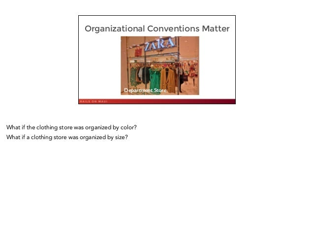 Organizational Conventions Matter 7 Department Store What if the clothing store was organized by color? What if a clothing...