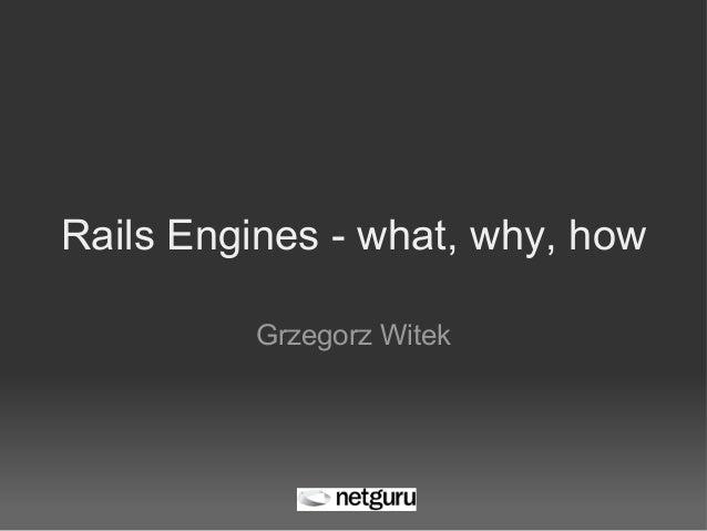 Rails Engines - what, why, how Grzegorz Witek