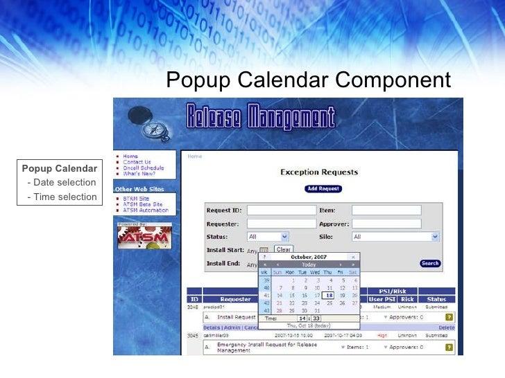 Popup Calendar Component Popup Calendar - Date selection - Time selection