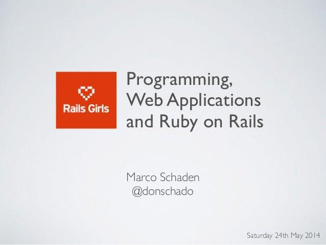 rails girls programming web applications and ruby on rails