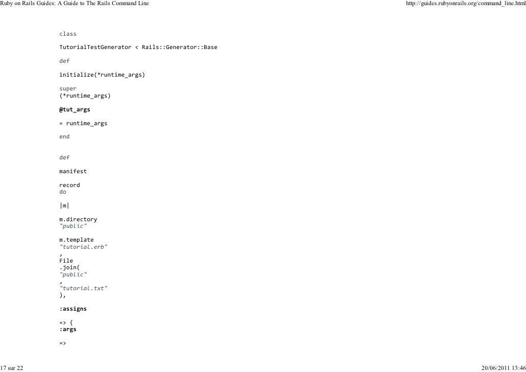 Ruby on Rails Guides: A Guide to The Rails Command Line   http://guides.rubyonrails.org/command_line.html17 sur 22        ...