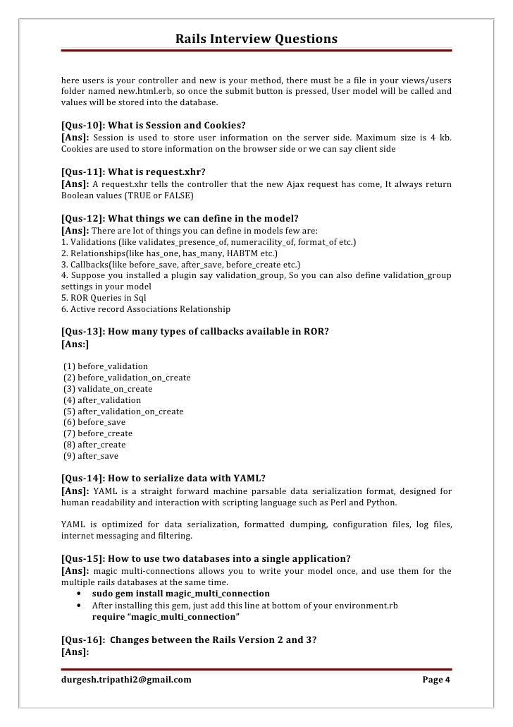 ... 4. Rails Interview Questionshere ...
