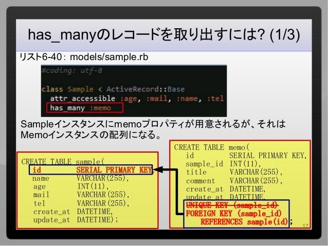 17 has_manyのレコードを取り出すには? (1/3) リスト6-40: models/sample.rb Sampleインスタンスにmemoプロパティが用意されるが、それは Memoインスタンスの配列になる。 CREATE TABLE ...