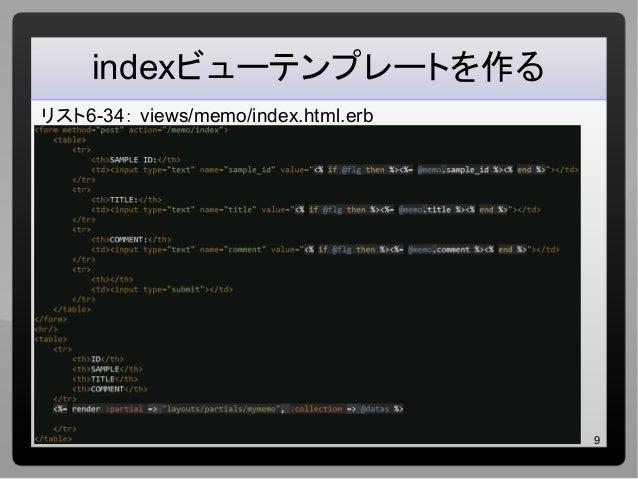 9 indexビューテンプレートを作る リスト6-34: views/memo/index.html.erb