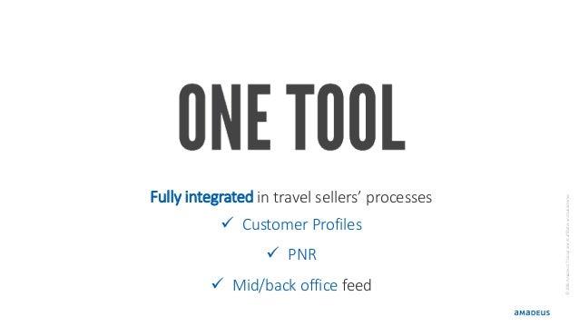 ©2016AmadeusITGroupanditsaffiliatesandsubsidiaries Fully integrated in travel sellers' processes  Customer Profiles  PNR...