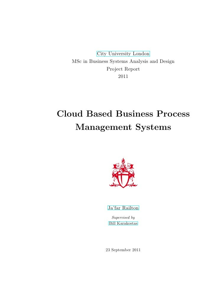 City University London   MSc in Business Systems Analysis and Design                 Project Report                      2...