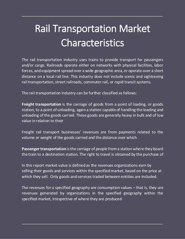 Rail transportation global market report 2018