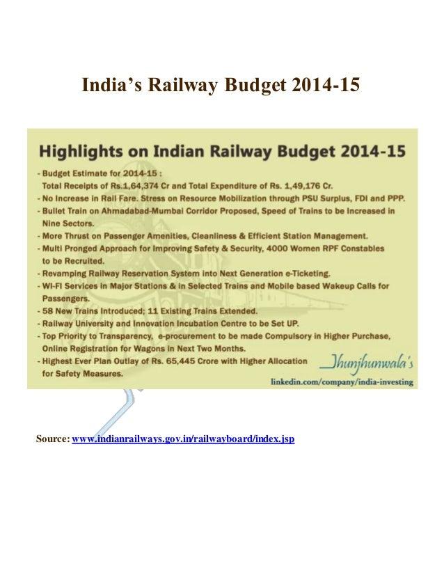 India's Railway Budget 2014-15 Source:www.indianrailways.gov.in/railwayboard/index.jsp