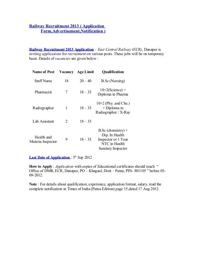 Railway Recruitment 2013 ( ApplicationForm,Advertisement,Notification )Railway Recruitment 2013 Application – East Central...