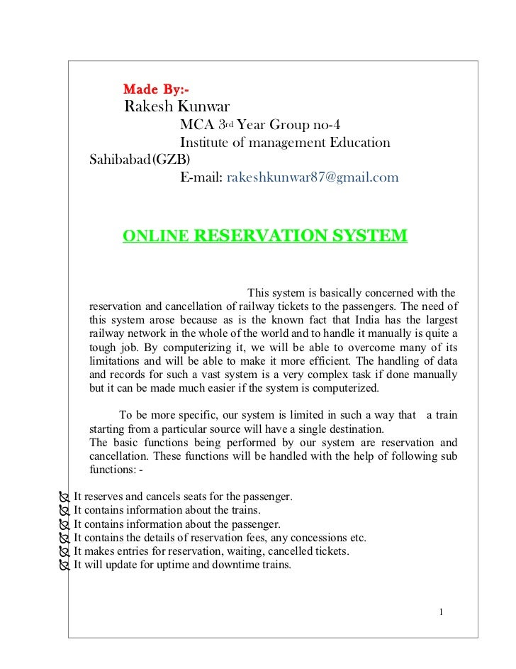 Railway Reservation Documentation