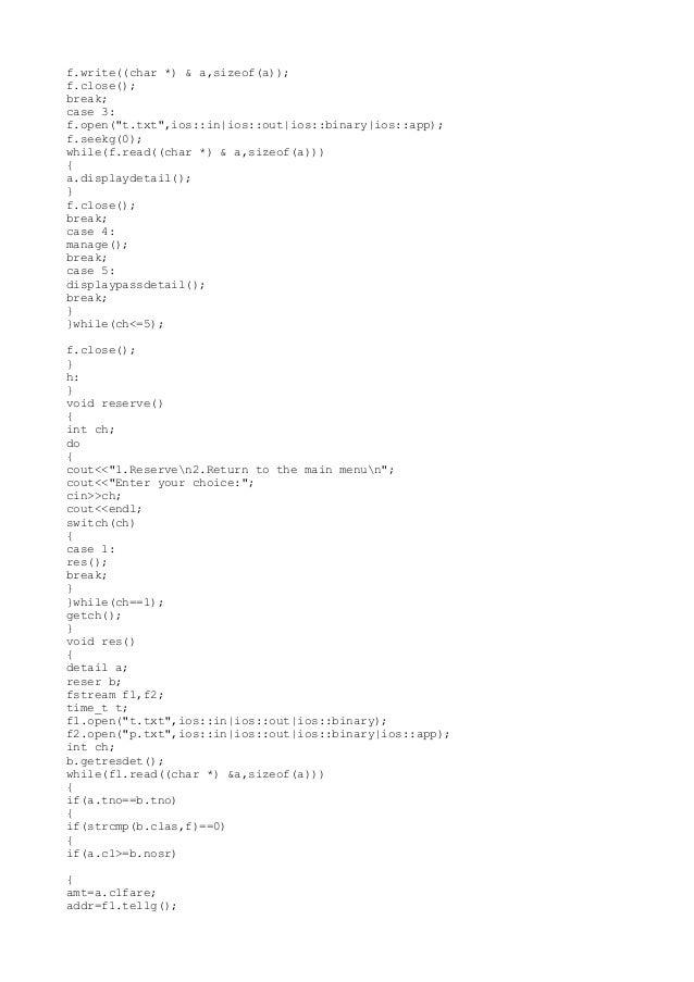 c++ program for Railway reservation