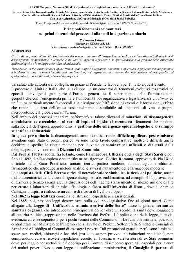 """XLVIII Congresso Nazionale SISM """"Organizzazione e Legislazione Sanitaria nei 150 anni d'Italia unita""""A cura di: Societas I..."""
