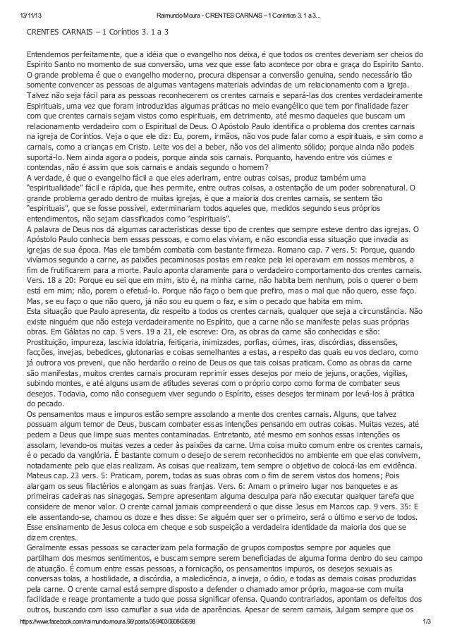 13/11/13  Raimundo Moura - CRENTES CARNAIS – 1 Coríntios 3. 1 a 3...  CRENTES CARNAIS – 1 Coríntios 3. 1 a 3 Entendemos pe...