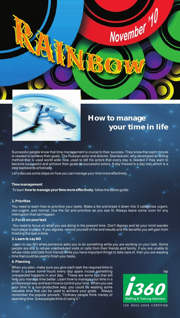 How to manage                                                        your time in lifeSuccessful people know that time man...