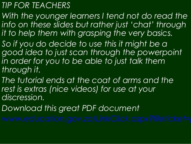 TIP FOR TEACHERS With the younger learners I tend not do read the info on these slides but rather just 'chat' through it t...